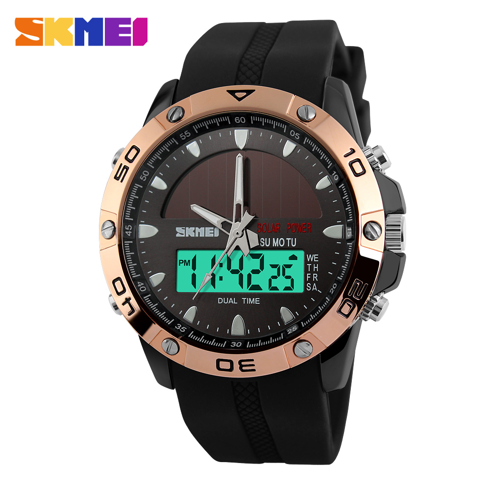2016 NEW SKMEI Solar Sports Watch Men s Digital Shock Alarm Wristwatches Outdoor Military LED Casual