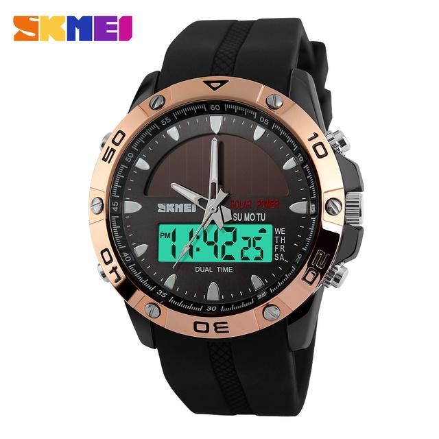 2016 NOVA SKMEI Relógio Esportivo Solares Choque Alarme Relógios de Pulso Digital de homens Ao Ar Livre Militar LIDERADA Relógios Casuais