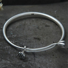 Handmade 999 Sterling Silver Lotus Seedpod Bracelets & Bangles Lucky Bracelet Bangle Valentine Day Gift