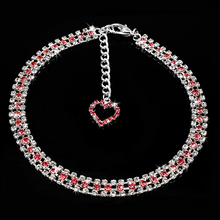 Dazzling Rhinestone Dog Collar/Necklace With Dangling Diamante Heart Charm