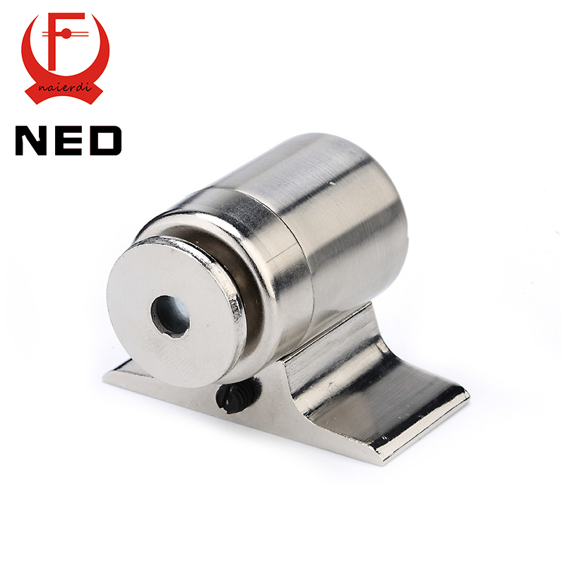 NED-207 Zinc Alloy Magnetic Door Stop Holder Floor-mounted Stopper Stainless Steel Nickel Brushed For Furniture Hardware high quality stainless steel magnetic door stop stopper holder catch floor ffitting with screws for furniture hardware