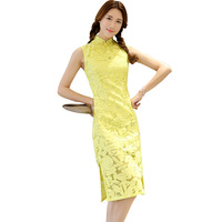 New Arrival Yellow Vintage Women Chinese Dress Sleeveless Flower Mandarin Collar Cheongsam Cotton Nylon Sexy Qipao S XL