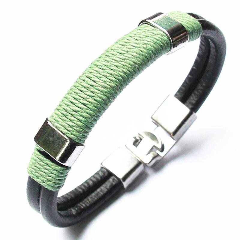 18 New Fashion 3 layer Leather Skull Bracelets&Bangles Handmade Round Rope Turn Buckle Bracelet For Women Men Charm bracelet 26
