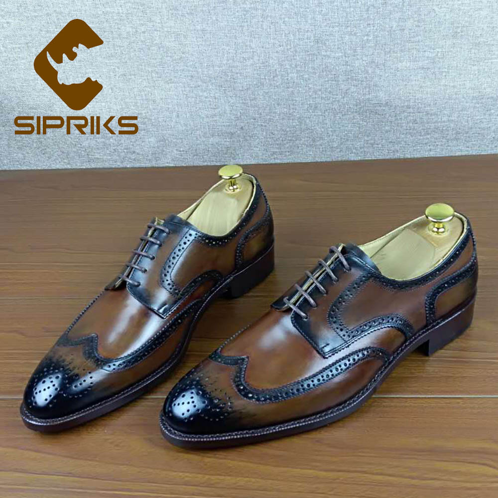 Sipriks Handmade Custom Goodyear Welt Shoes Italian Patina Calf Leather Brogue Shoes Boss Men Business Work Social Party Shoes goodyear leather shoes handmade custom business men leather italian brand new men dress shoes bespoke calfskin leather outsole