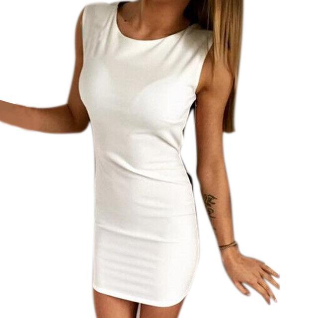 Summer Women Dress Sleeveless Slim Hip Sexy Bodycon Dresses For Women Bandage Backless Cocktail Basic Party Dress  -MX8