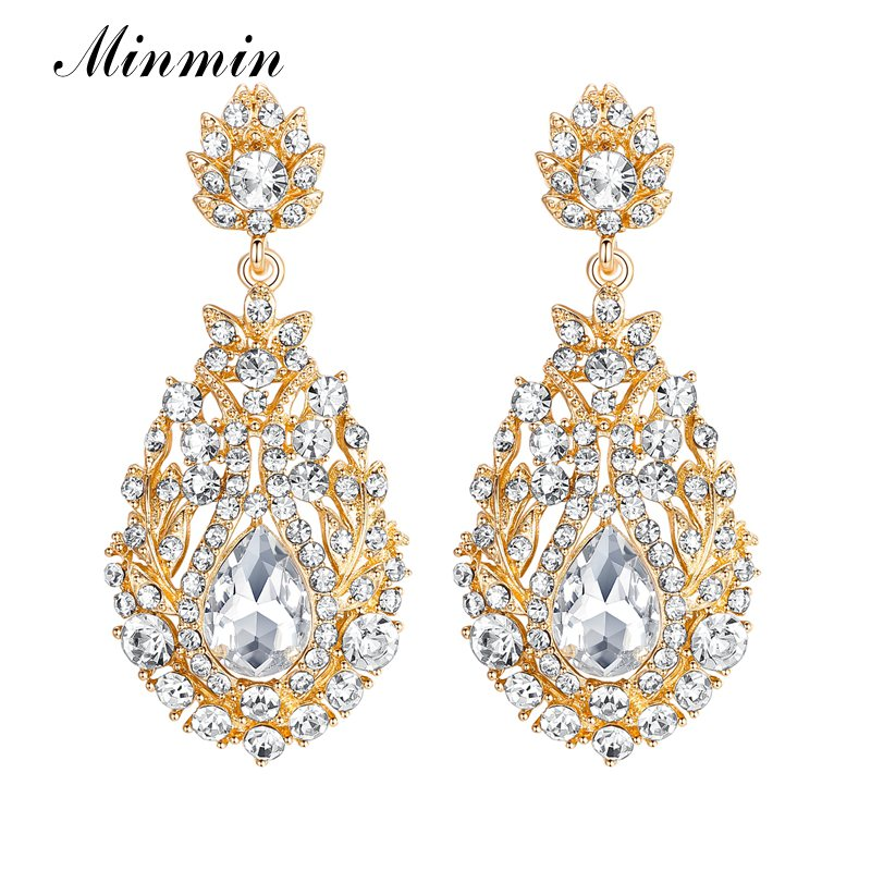 minmin Golden Austrian Crystal Drop Earrings Attractive Women Long for Wholesale Free Shipping  MEH729-gold
