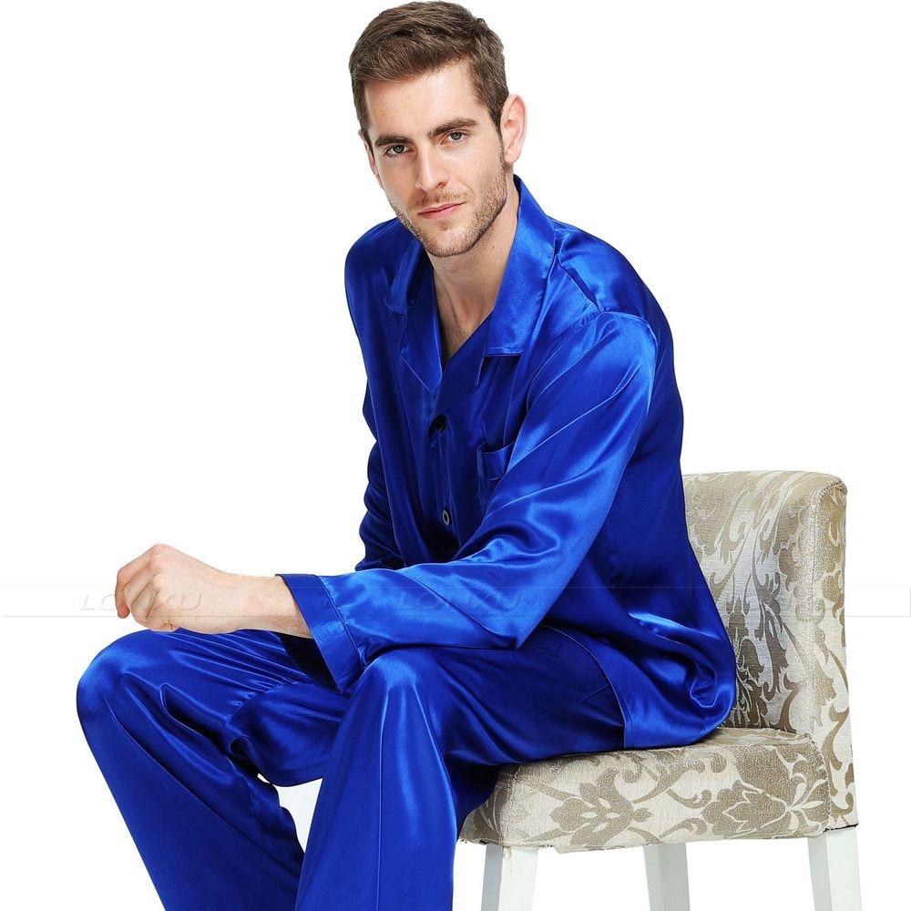 Mens Silk Satin Pajamas Set Pyjamas Sleepwear
