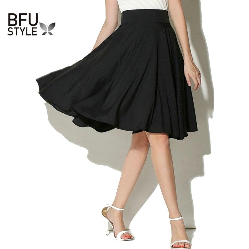 Midi Skirt Summer Women High Waist Pleated A Line Skirt ...