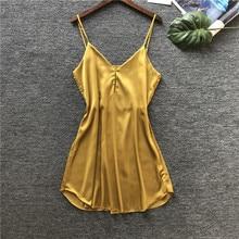 2019 Summer Satin Nightsuits Women Nightwear Nightdress Sexy Lingerie Silk Ladies Nightgowns Pijamas Sleepshirts