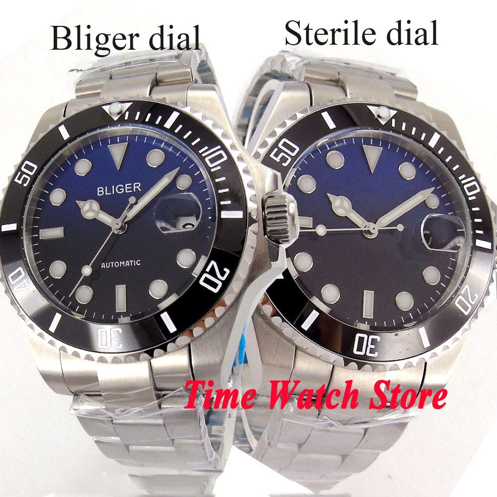 лучшая цена 40mm Bliger men's watch Blue black dial luminous sapphire glass ceramic bezel MIYOTA Automatic movement 288