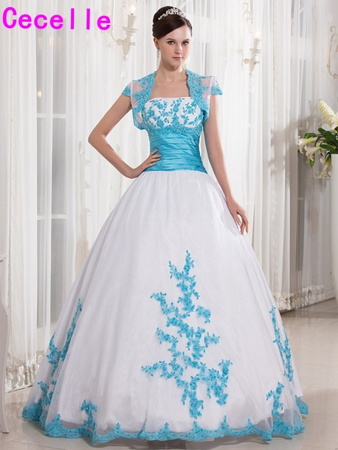 2017 New White And Blue Ball Gown Prom Dresses Long Beaded Lace ...