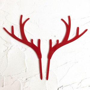 Image 2 - 2個メリークリスマスアクリルケーキトッパーゴールド鹿ヘラジカ枝角アクリルカップケーキトッパーパーティーケーキの装飾クリスマス2021