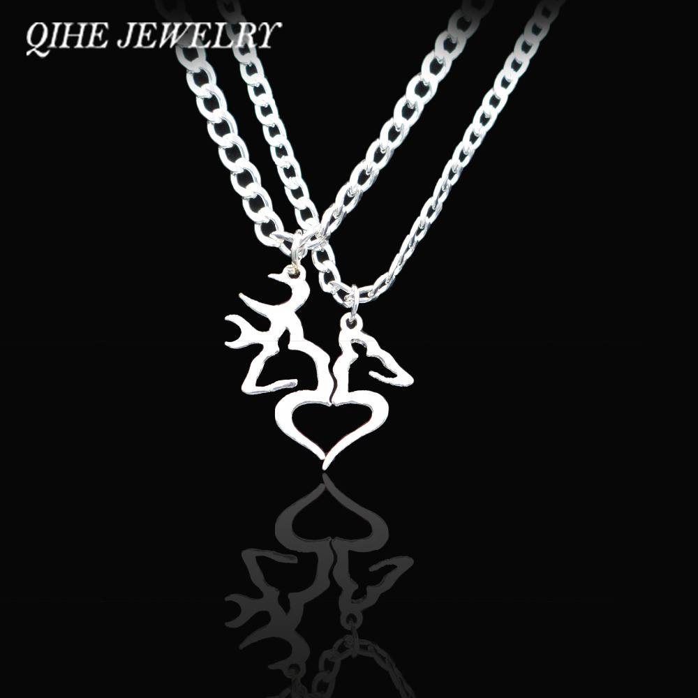 QIHE <font><b>JEWELRY</b></font> Hand Cut Coins Buck And Doe Kissing Heart Shape Necklace Set For Men Women <font><b>Couple</b></font> <font><b>Jewelry</b></font> Wholesale Drop Shipping image