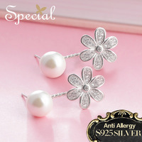 Special Brand Fashion Natural Pearls Stud Earring 925 Sterling Silver Jewelry Ear Pins Pearl Jewelry Gifts for Women S1692E