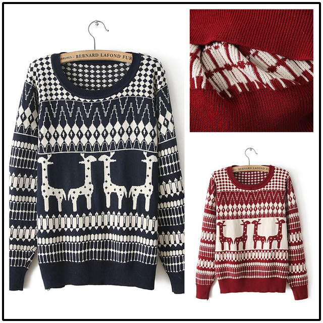 2014 Autumn winter fashion new women's knitted cotton long sleeve Crewneck sweater Pullover giraffe pattern Sweater
