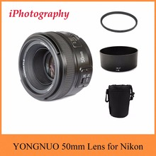 YONGNUO Lentille YN 50mm f/1.8 AF MF Lens + Lens Hood + UV filtre + Lens Case Set Auto Focus pour Nikon Caméra COMME AF-S 50mm 1.8G