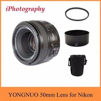 YONGNUO Lens YN 50mm f/1.8 AF MF Lens + Lens Hood + UV Filter + Lens Case Set Auto Focus for Nikon Camera AS AF-S 50mm 1.8G