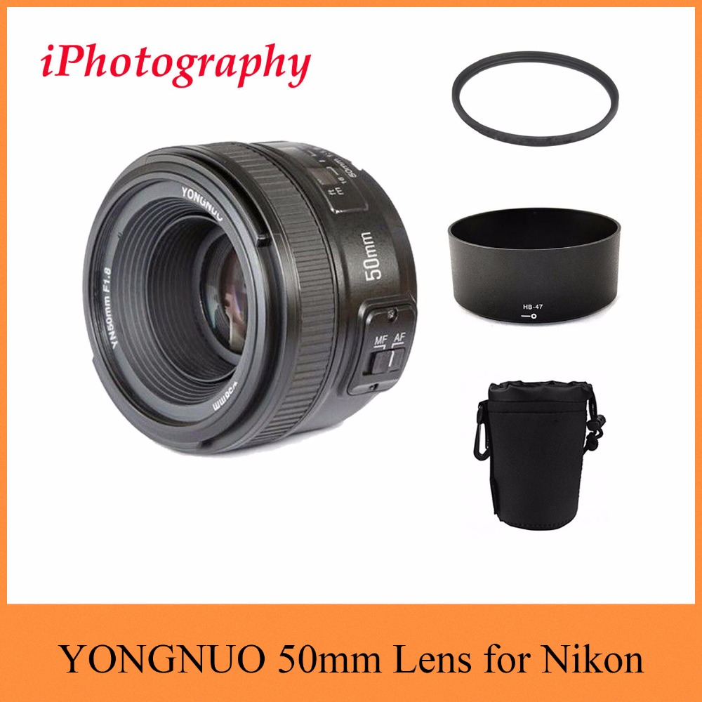 Yongnuo yn 50mm f/1.8 AF MF lente + parasol + filtro UV + lente de enfoque automático para cámara Nikon AF-S 50mm 1.8G