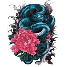 Green Snake Vs Peony Large Temporary Tattoos Vicious Temptation Symbol Tattoo Tribal MQA29