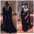 Elegant High Neck Rhinestones Evening Dresses Mermaid Black Arabic Capped Muslim Dubai Prom Party Gowns Beaded Abendkleider