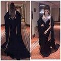 Elegante de Alta Pescoço Vestidos De Noite Strass Sereia Black Árabe Muçulmano Dubai Prom Party Vestidos Tampado Frisada Abendkleider