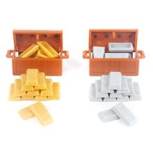 MOC City Accessories Building Blocks Pirate Treasure Model Blocks Bank Vault Gold Bar Silver Bullion Figures Parts Bricks Toys