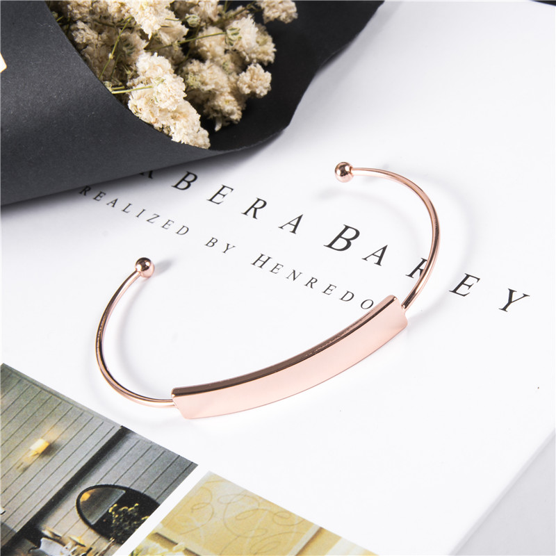 The bracelet is adjustable size Rose gold bracelet Simple smooth opening bracelet Birthday gift first in Bangles from Jewelry Accessories