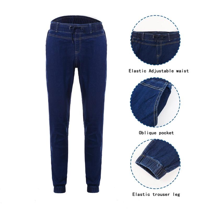 SHUJIN 2018 Men s Harem Jeans Washed Feet Shinny Denim Black Pant Hip Hop Sportswear Elastic