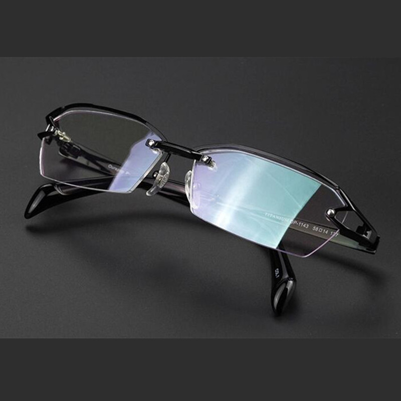 350677ac1f Detail Feedback Questions about 100% Pure Titanium Half Rimless Light Eyeglass  Frames myopia men women Black Glasses Optical Rx able 177 on Aliexpress.com  ...