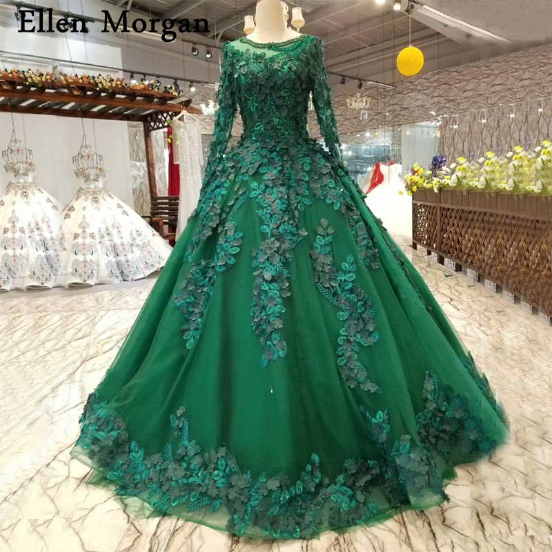 Gowns For A Wedding: Dark Green Ball Gowns Wedding Dresses 2018 Saudi Arabian