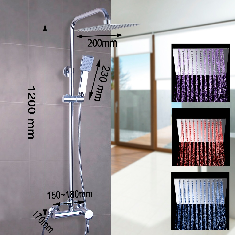 Superb KEMAIDI LED Square Raining Shower Head Bath Shower Tub W/Hand Spray LED  Adjustable Height Shower Set In Shower Faucets From Home Improvement On ...