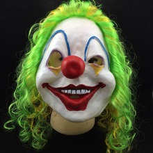 Halloween Scary Clown Latex Full Face Mask Big Mouth Red Nose Wig Green Red hair Cosplay Horror masquerade mask Ghost Party halloween horrible ghost printed party mask with wig