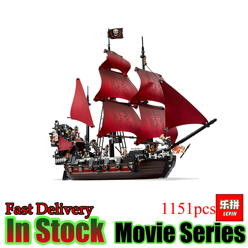 LEPIN 16009 1151pcs Queen Anne's revenge Pirates of the Caribbean Building Blocks Bricks Toys Set Compatible with 4195 dhl lepin 22001 imperial warships 16009 queen anne s revenge model building blocks for children pirates toys clone 10210 4195