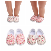 Girl Gift Doll Shoes for 43cm New Born Baby  White Prink Floral For 18 Amercian Sneacker Accessories