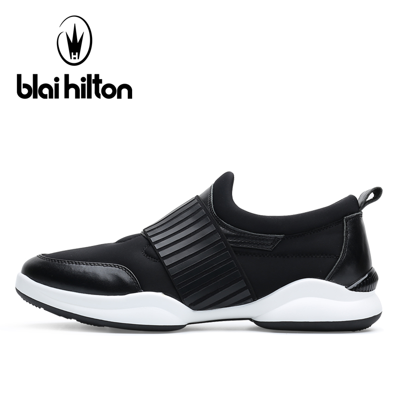 Blaibilton Genuine Leather Running Shoes Men's Sneakers Shallow Flat Sport Shoes Man Brand Summer Breathable Run Shoes For Men summer style somix ultralight damping running shoes for men free run sneakers 2017 slip on breathable blade soles sport shoes
