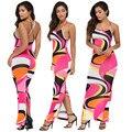 2016 summer sexy backless spagetti strap back cross women sexy night club print dresses women bodycon bandage maxi dresses MQ638
