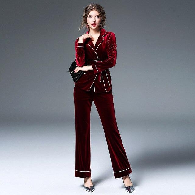 New 2016 autumn winter fashion women hot sale pajamas velvet wide leg pants suit two piece set black red with belt