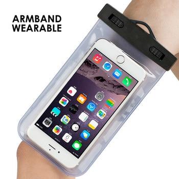 062f79b5797 Brazalete de natación Universal Smartphone bolsa impermeable para el iPhone  Samsung 4-6 pulgadas tacto