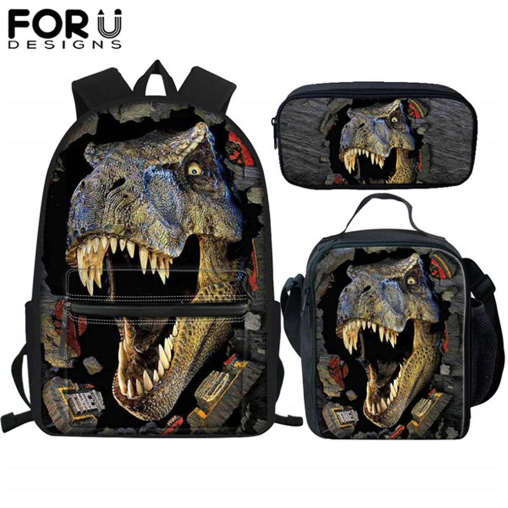 FORUDESIGNS School Bags For Boys Kids Tyrannosaurus Rex Dinosaur Prints School Men Backpack Children Schoolbag Sac A Dos Enfant