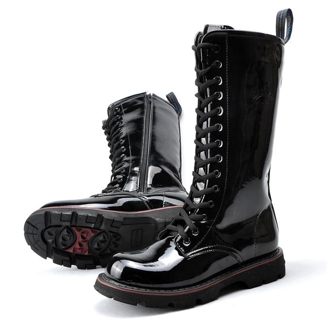 Couro Hot Do Exército Motocicleta Hombre Preto Club Masculinos Cano Cowboy 2019 Black Sapatos Alto Night De Homens Punk Brilhante Patente Botas 8qwgAA