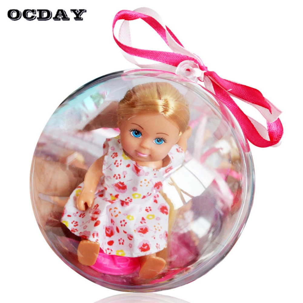 1Pc Funny Removable Clear Ball Doll Toy Lovely Girls Clothes Changing Figure Toy Magic Ball Toy Girls Birthday Festival Gift