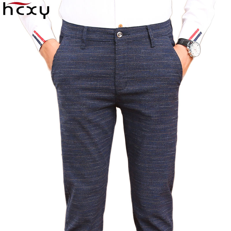 HCXY 2019 Korean style Mens Smart Casual Pants Men Pant Full length Slim Fit Trousers Male Stretch fabric Size 38