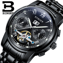 2017 New BINGER men's watch luxury brand Tourbillon sapphire luminous multiple functions Mechanical Wristwatches B8601-7