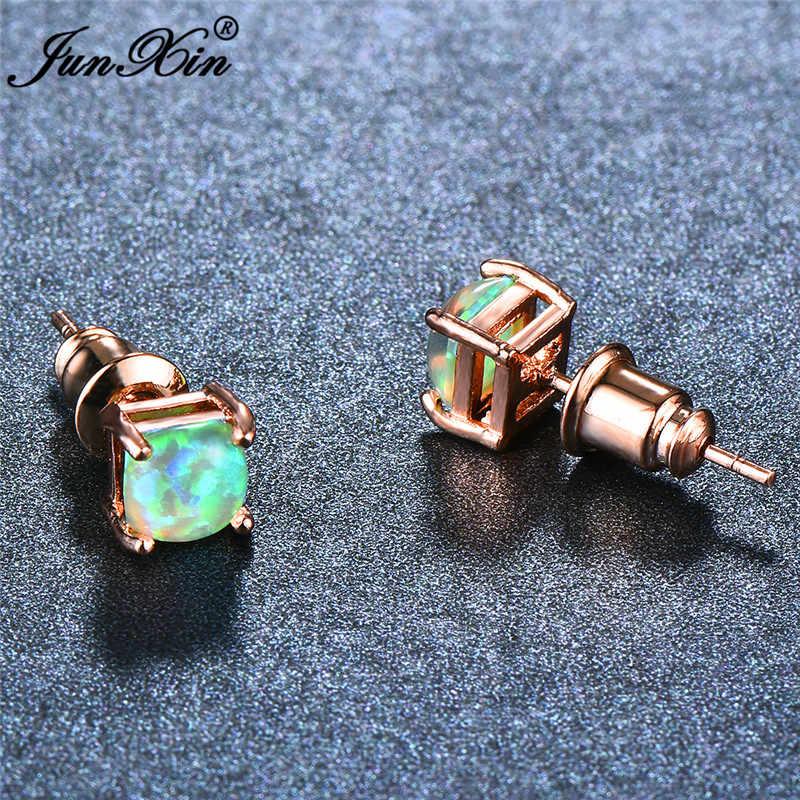 JUNXIN Fashion Female 4/5/6/7mm Square Stud Earrings Boho Green Fire Opal Earrings For Women Rose Gold Filled Jewelry