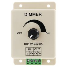 Светодиодный диммер DC 12 В 24 В 8A Регулируемая яркость лампы полосы драйвер один цвет Свет Питание контроллер