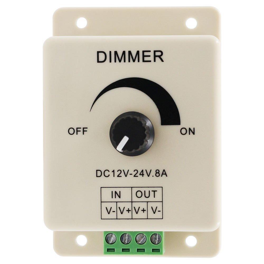 LED Dimmer Switch DC 12V 24V 8A Adjustable Brightness Lamp Bulb Strip Driver Single Color Light Power Supply Controller