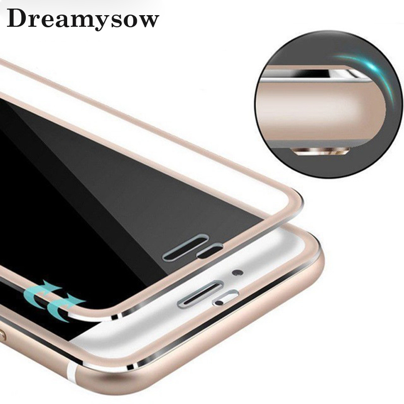 Dreamysow Aluminum alloy Tempered Glass Film 3D Curved Real Full Cover Protector For iphone X Xs max Xr 6 6s 7 5 5s SE 5C 8 Plus(China)