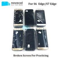 5 pçs/lote S7edge S6edge S6 borda + Defeituoso Display LCD com Frame Touch Screen Digitador Tem Pixel Morto e Linha para A Prática de