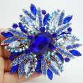 Classic Retro Style Blue Rhinestone Crystal Flower Silver-plate Large Brooch Pin