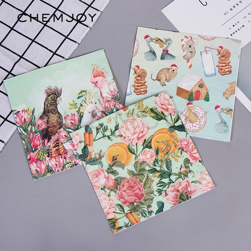 4 x Single Paper Napkins Lavender /& Script Design Decoupage Crafting Table 45